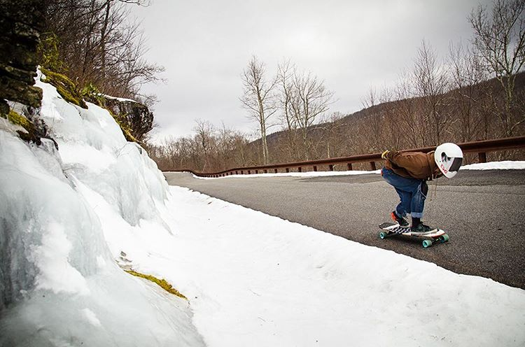 The snow did not stop Susannah Hogue (@dr.suezz) from getting out for a rip on the Keystone in North Carolina. Rad photo by @phillbaldwin! #dbkeystone #dblongboards #longboard #longboarding #skateeverydamnday
