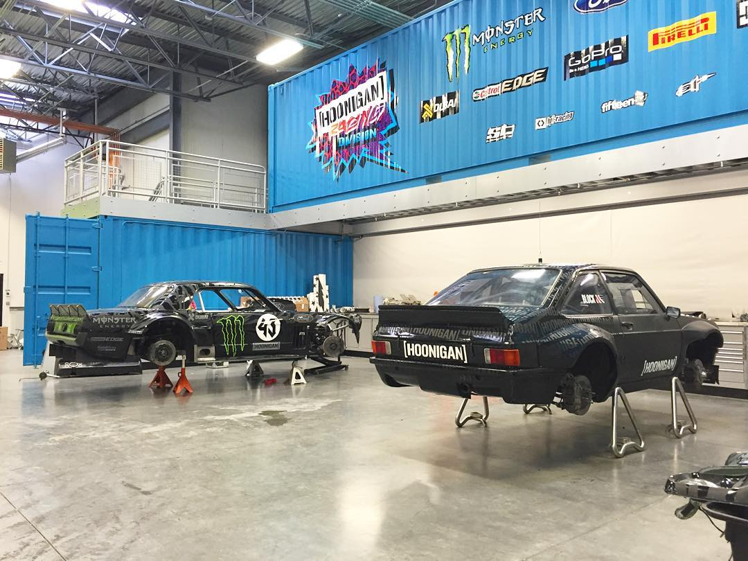 Quick snap from the #HRD_HQ of my two favorite @HooniganRacing Ford racecars, getting reprepped for a big year. #modernvintage #Hoonicorn #GymkhanaEscort #FastFords