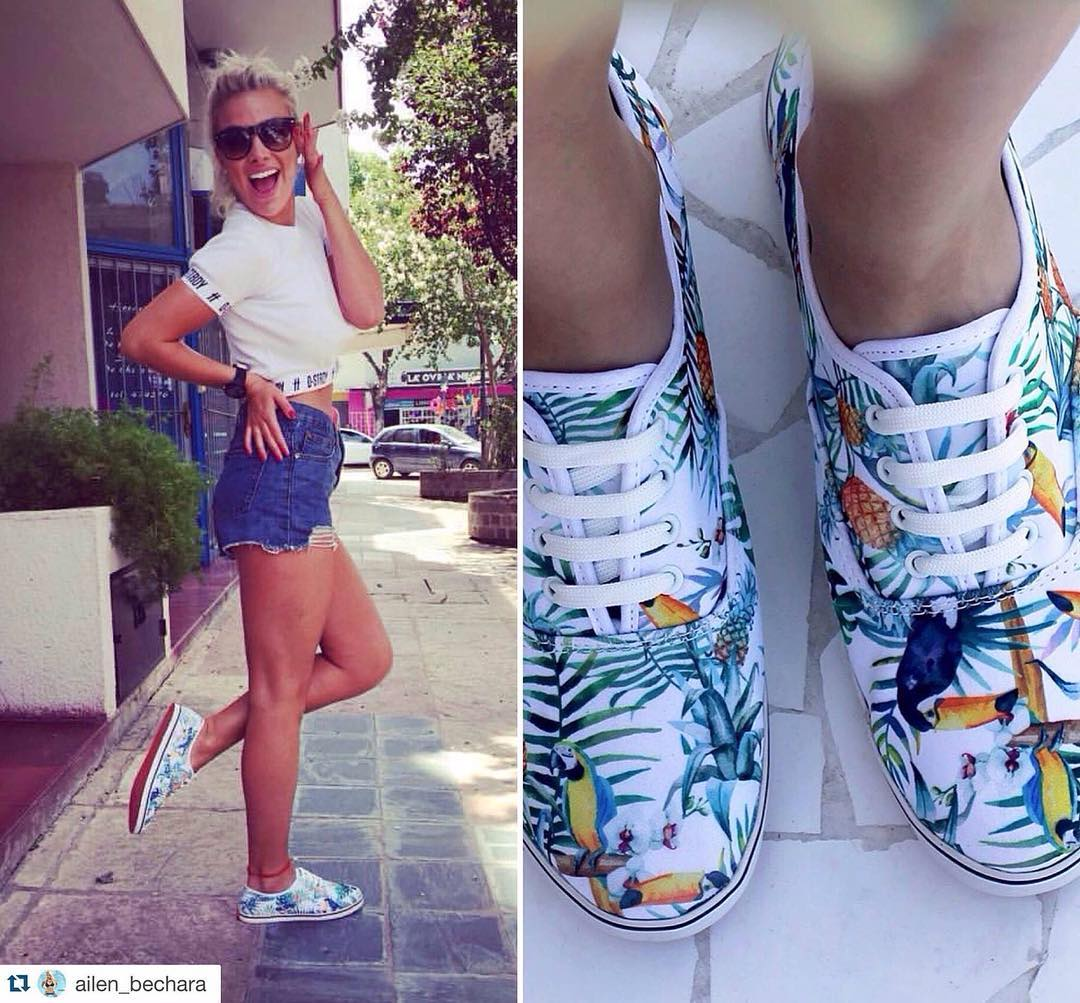 "@ailen_bechara con sus Milha™ ""Rainforest Toucan"". Made to Enjoy! #milha #zapatillasdemujer"