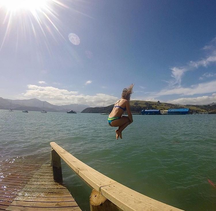#miolagirl of the day is @leslieannen, living the dream in New Zealand… taking awesome photos and doin' cannonballs in our Casita Boythong & Pin-up Too ☺ Can't wait to jump in with you, Leslie! #getoutthere #cannonball #newzealandgram