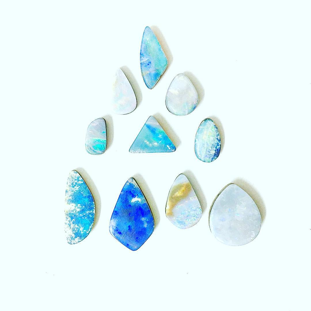 What a beautiful piece of geological art! These Opals are like tiny watercolor paintings.  This is a custom section if anyone is looking for a choice Opal just let me know! (Bottom blue is taken)  #watercolor #blue #opals #blueopals #juliaszendrei...