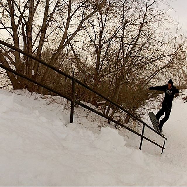 One more from the rail gardens...this time its Derek (@dtd801) with a nosepress back 180. It's been awesome having  snow in the city for most of the season so far...thanks Mother Nature!  #nichesnowboards #findyourniche #slc #utah #railgardens...