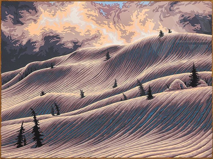 This painting was inspired by a splitboard trip out to one of our local Central Oregon spots with @joshdirksen, @forrestshearer, Chris Edmunds and @colin_wise_man. The area we visited is full of mind bending natural features, but so far we've been...