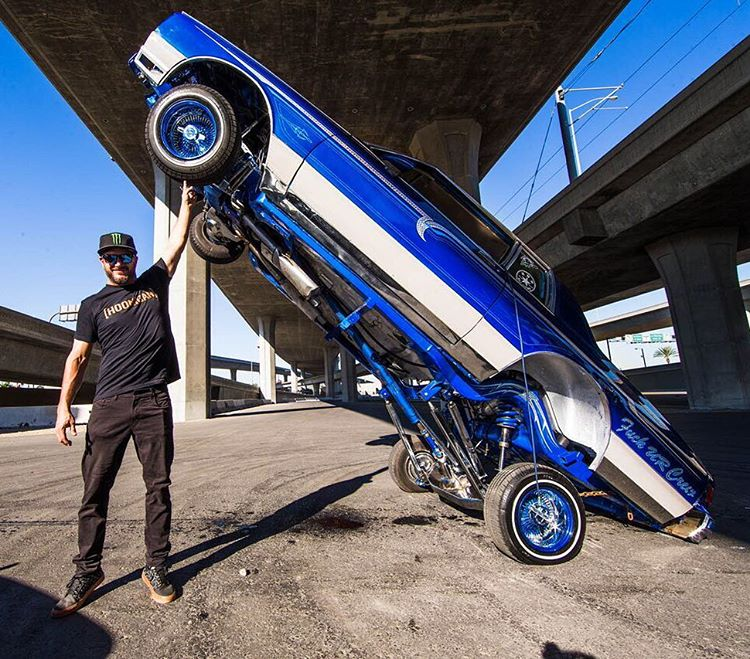 #TBT to a few minutes after I did donuts around this thing (while it was hopping) for #GymkhanaSEVEN in 2014. Yeah, my shoulder press game is strong. @Roncar photo. #hittinswitches #twowheelthursday #underthebridgedowntown