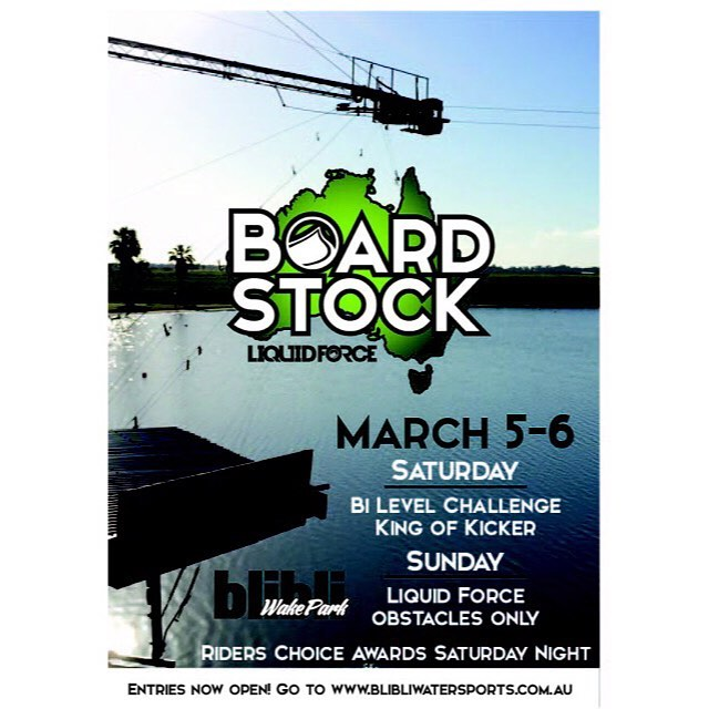 Join us March 5-6 for our 7th annual Boardstock!  Visit @blibliwakepark website to sign-up today!  #LiquidForce #KingOfKicker @liquidforceaustralia