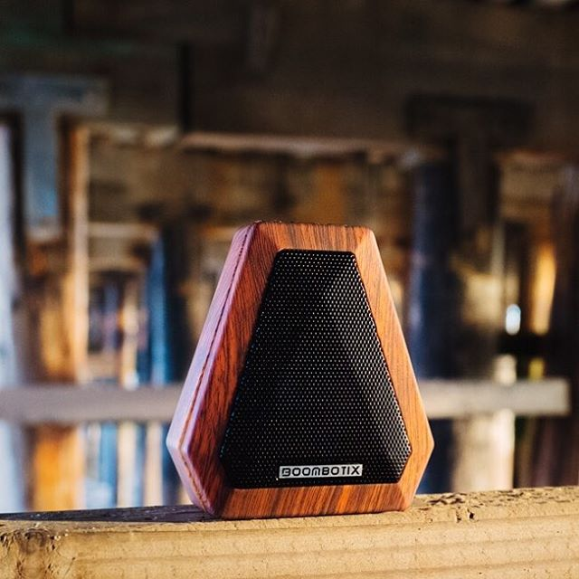 The Boombot Mini.  Featherweight design, acoustically tuned.  Woodgrain Color available @chargecords  #SoundOfTheBrave #BoombotMini #Boombotix #bluetoothspeaker #essential #audiophile
