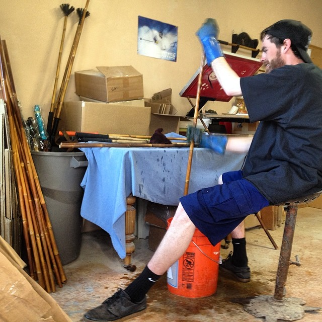 It was great having one of the original sirs in the shop this week... Huge thanks to Bo Ferro for giving us a hand blessing some bamboo... #TRIBEUP!  @boferro  #pandapoles #handcrafted #smallbatch #bamboo #magicskiwands #pandaworkshop #rideroperated