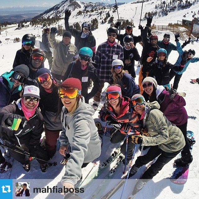 #Regram from @mahfiaboss getting the primo @gopro shot of the @b4bc #shedthelove crew before the #tribute ride #gobigdogood #mammothstories #mammothunbound #behealthygetactive #gopro #snowboarding