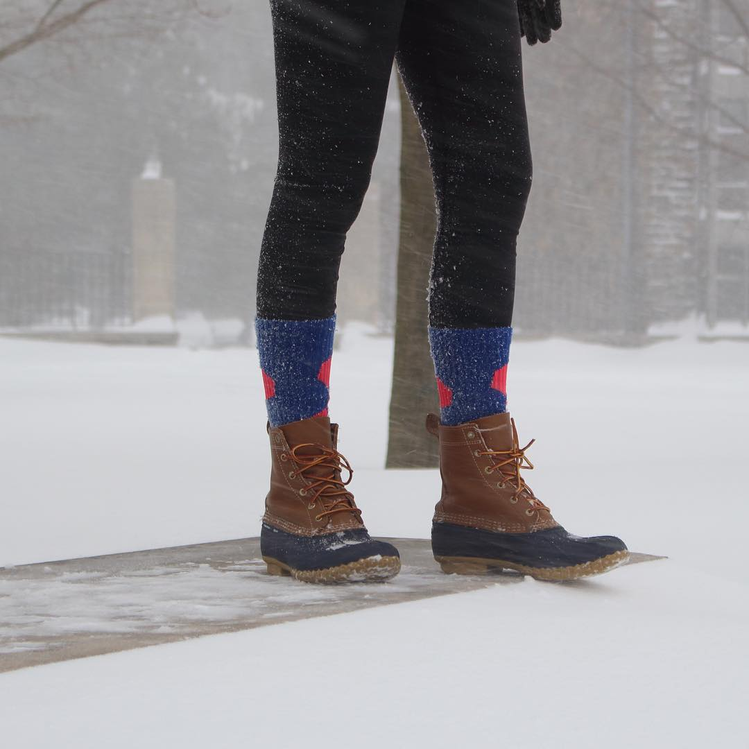 The #brightest thing you can do in a #snowstorm is to #grabapair @blondeandabackpack #villanova #wildcats #college #friday #beanboots