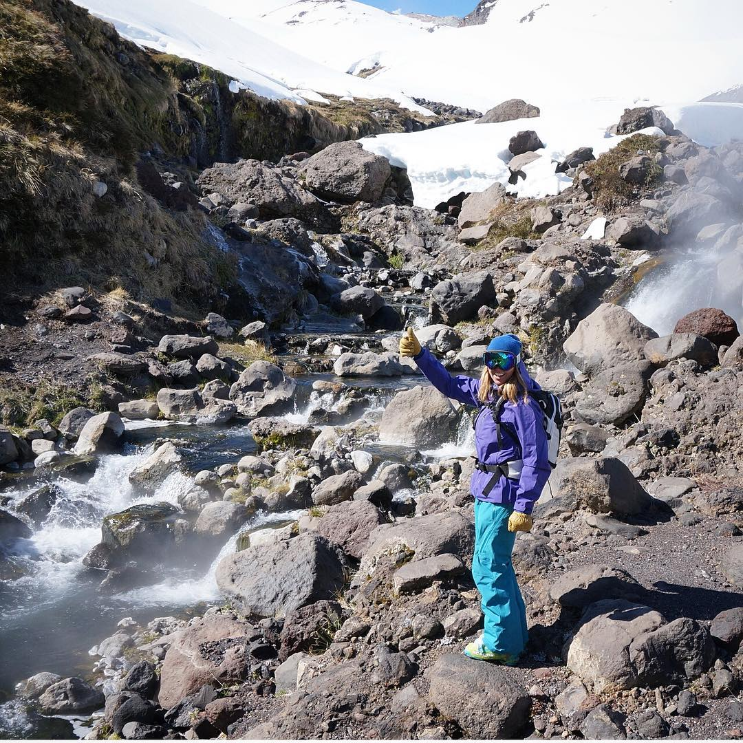 #stokedonscat! ASC's Erica Cunningham gives an enthusiastic thumbs up after successfully finding this backcountry #skiinskiout hot spring, where she was able to collect samples on a pilot expedition for the #ascscat Turns out animals love hot water as...