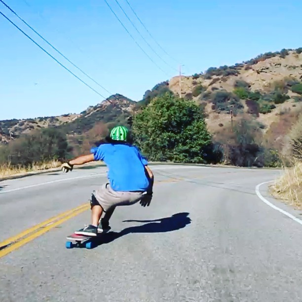 #patschep the other day rockin the #s1 x #skatehousemedia #collab #watermelon #helmet. #skatesmart #protectyourmelon #downhill #sketchiness @schepititis @skatehousemedia