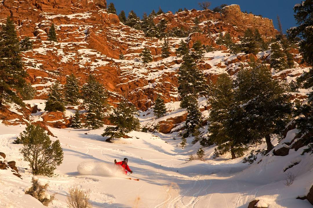 @huntfishski and @benkoelkerphoto getting a #lowcountry #firstdescent near our new factory yesterday afternoon. #colorado #living up to its name! #skiingmag #powdertothepeople #redrocks