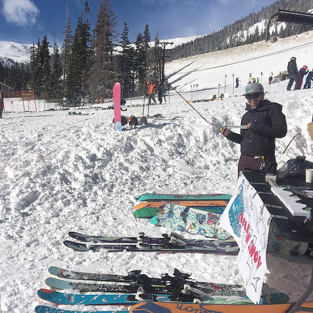 Come join the #sisterhoodofshred at @lovelandskiarea. We're offering free demos and fun times all day. #extremefaceshots