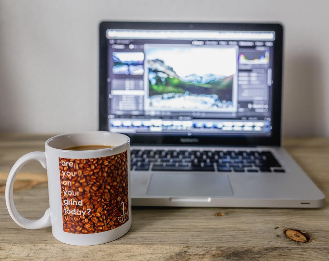 @wilclaussen getting some editing in with his #gdcc mug. are you on your grind today?