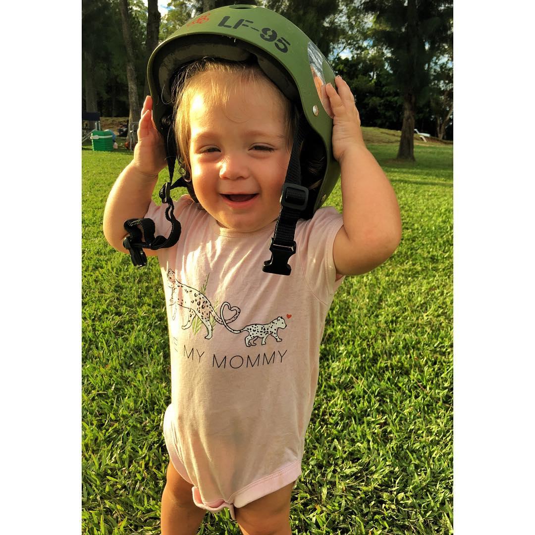Her Daddy teachs her • always wear #helmet