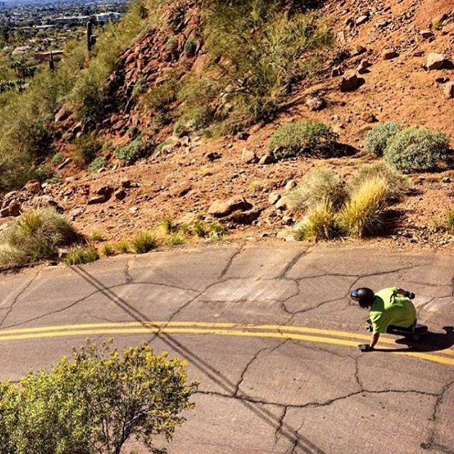 Repost from @skatephx featuring surfy styles of @jasonbither on the an Arizona road. Stoked to have Jason riding out gear and the AZ scene! (