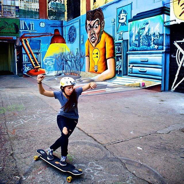 @valeriakechichian in 5Pointz NYC before it was whipped clean. Tom Goldwasser photo #rip5pointz #longboardgirlscrew