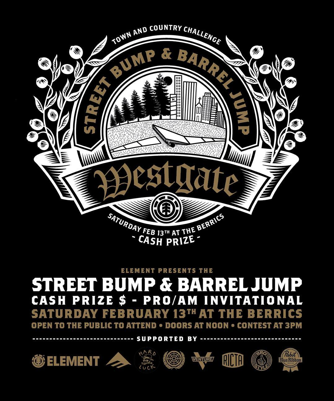 "Join us this Saturday, Feb 13th for the @westgatebrandon ""Street Bump & Barrel Jump"" pro/am invitational at @berrics! >>> cash prize for longest jump, longest ollie and a best trick jam, open to public to attend, more details on our blog >>> event..."