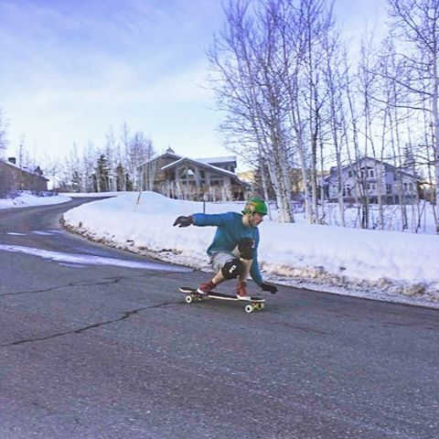 "@seanwoolery1 found some dry streets to sesh in a snowy Park City in Utah on the Keystone 39"" #dbkeystone #parkcity #downhillskateboarding #longboard #longboarding #dblongboards"