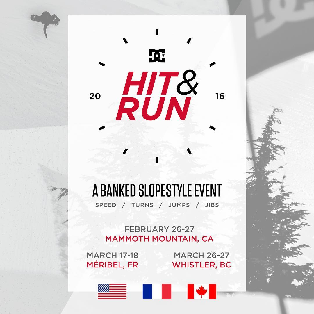We're excited to announce our new @dc_snowboarding event contest series, DC Hit & Run. The series kicks off in Mammoth Mountain, CA on February 26-27th. Learn more and see how you can get involved at --> dcshoes.com/hitandrun. @mammothmountain...