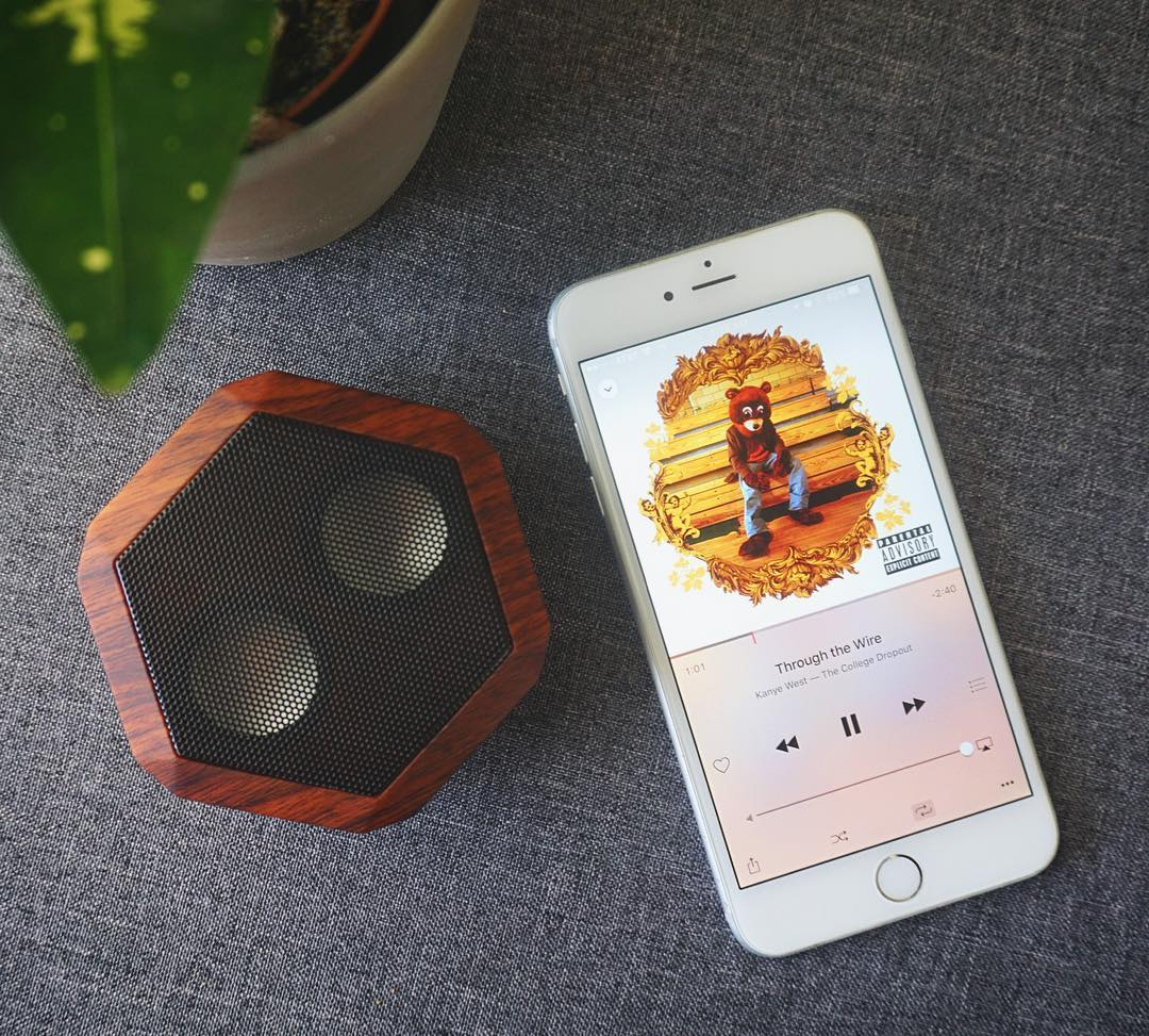 Listening to: #TheCollegeDropOut - This classic dropped 12 years ago today.  #Boombotix #SoundOfTheBrave #portablespeaker #bluetoothspeaker #essential #audiophile #design #Whats_playing #kanyewest