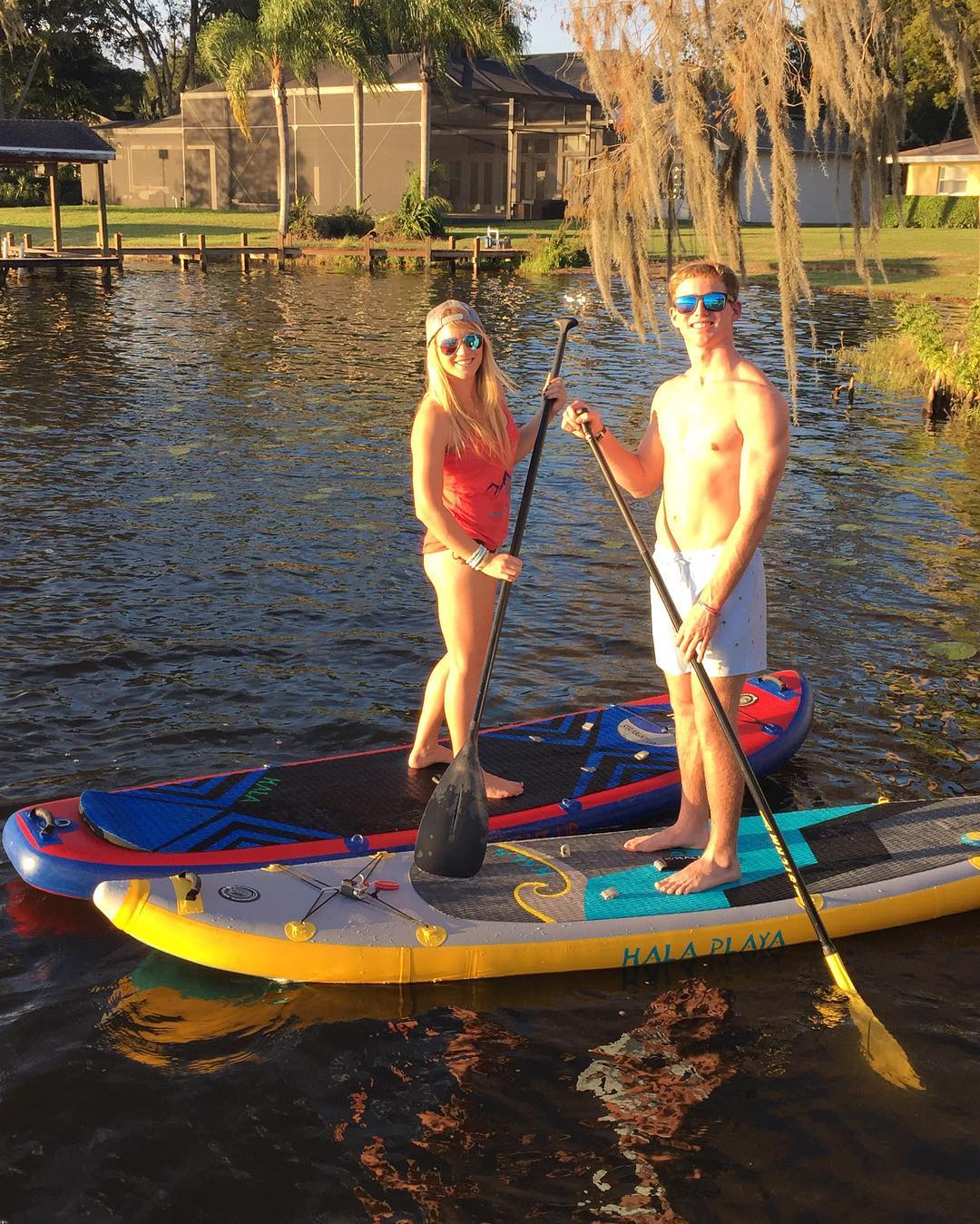 Happy new Hala Gear owners out for a paddle in Florida! #halagear #adventuredesigned #isup #inflatable #paddleboard #standuppaddle #florida #newgear #freshnewboards #sun #paddling
