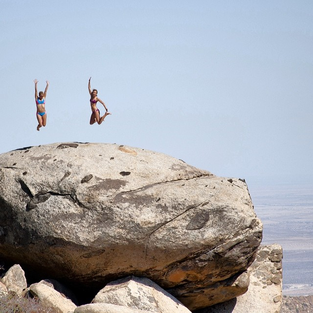 @annaehrgott and @helina___ taking the #bouldering to the #nextlevel #bikiniadventure #living #withoutwalls in the #Bombora and the #boho and boho #surf #top available at @gowithoutwalls #coachella #festival #exploration #desert