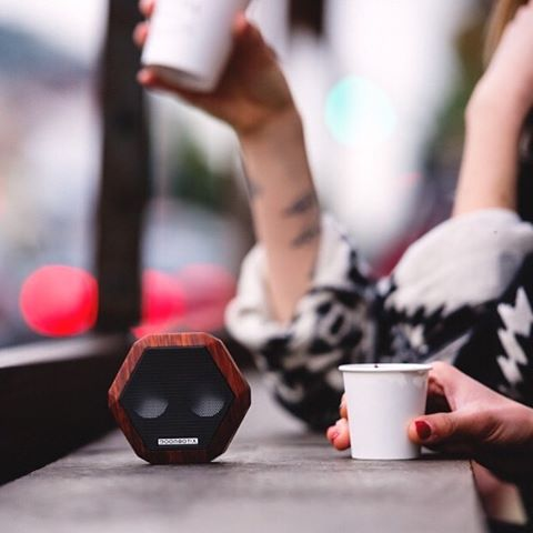 The Rex • Cherry Woodgrain Edition.  Available now at Boombotix.com  #portablespeaker #bluetoothspeaker #essential #audiophile #design #Soundofthebrave