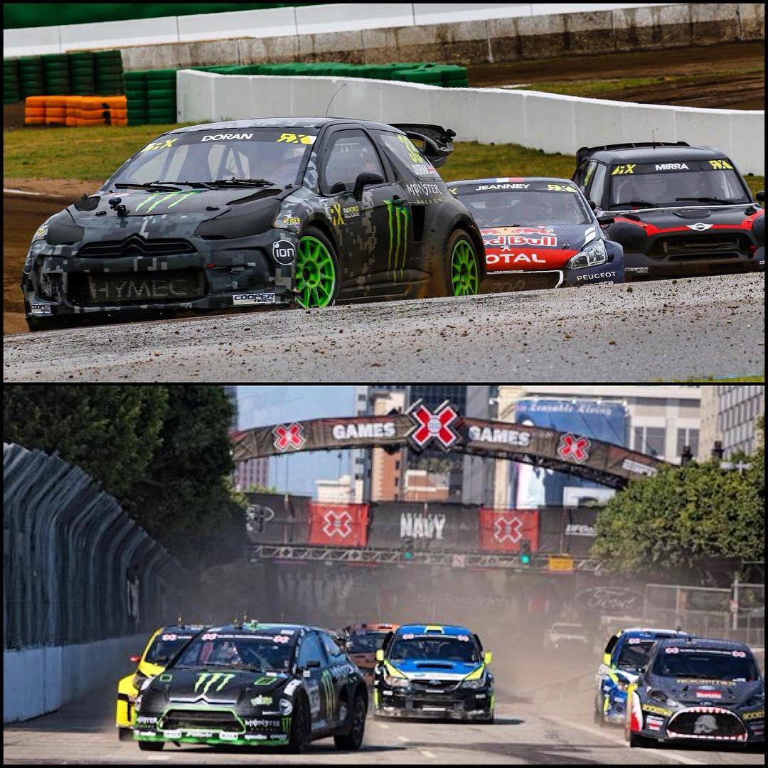 Dave was a great guy and an awesome racer, it's an honour to say that we raced together over the years. Top picture of us racing a @fiaworldrx heat race in 2015 at Hockenheim, Germany and bottom picture of us racing @xgames LA in 2011!! #rip...