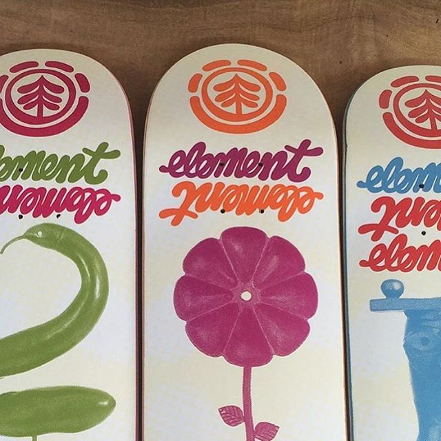 sneak peek of a new board series by #elementadvocate @thomascampbellart >>> coming to skate shops in May