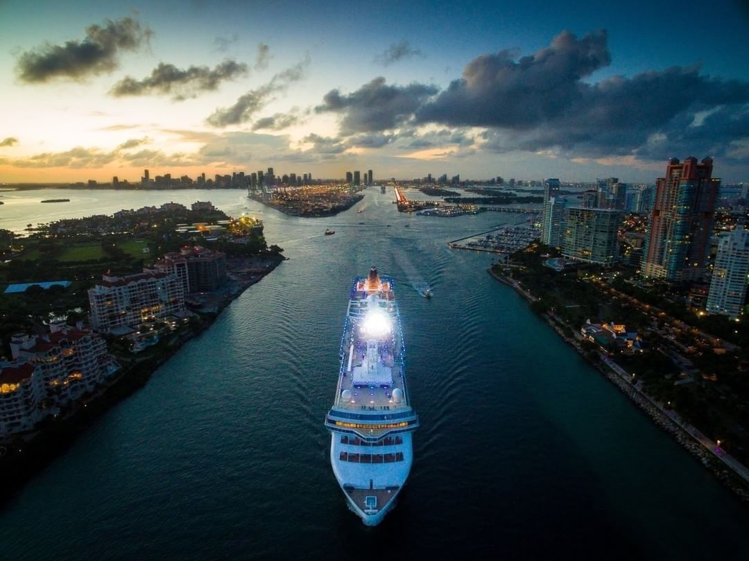 Cruise ship setting off to sea  Credit: Gerard Juarez | #Phantom #Miami  Use #IamDJI to share your aerial creations with us!