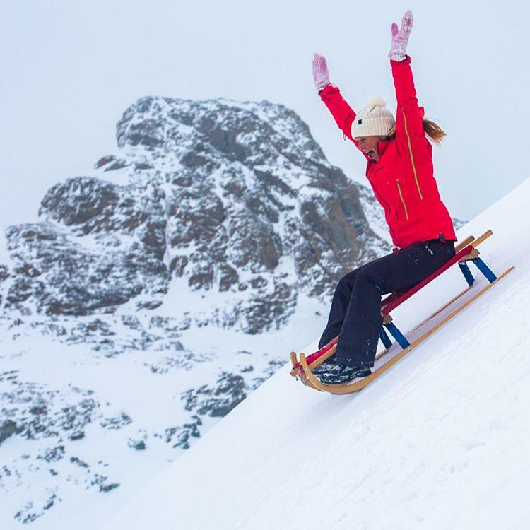 @alisonsadventures tobogganing #offpiste in Zermatt, Switzerland