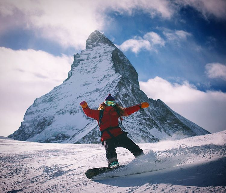 @alisonsadventures childhood dream came true in Zermatt when she got to snowboard in from of the Matterhorn!