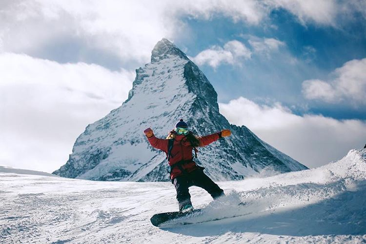 @alisonsadventures and photographer @hisarahlee are the absolute coolest. Making childhood dreams come true by riding in front of the Matterhorn today in Switzerland. Dreams really do come true, friends. You just have to work to achieve them!