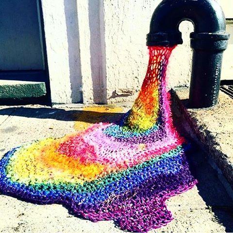#streetart #crochet #rainbow