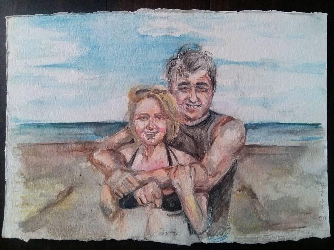 Mis musas. #art #arte #acuarela #aquarelle #watercolor #mumanddad #lovethem #NuevaAtlantis #Beach