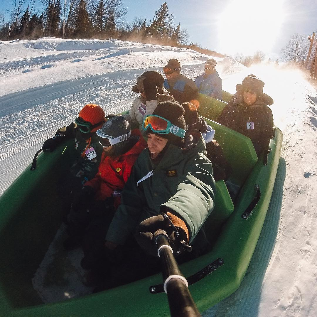 There's always room for one more when snow rafting with @maiz01! How are you spending your weekend? Share with us via #GoProAwards link in our bio! #GoPro #GoProSnow