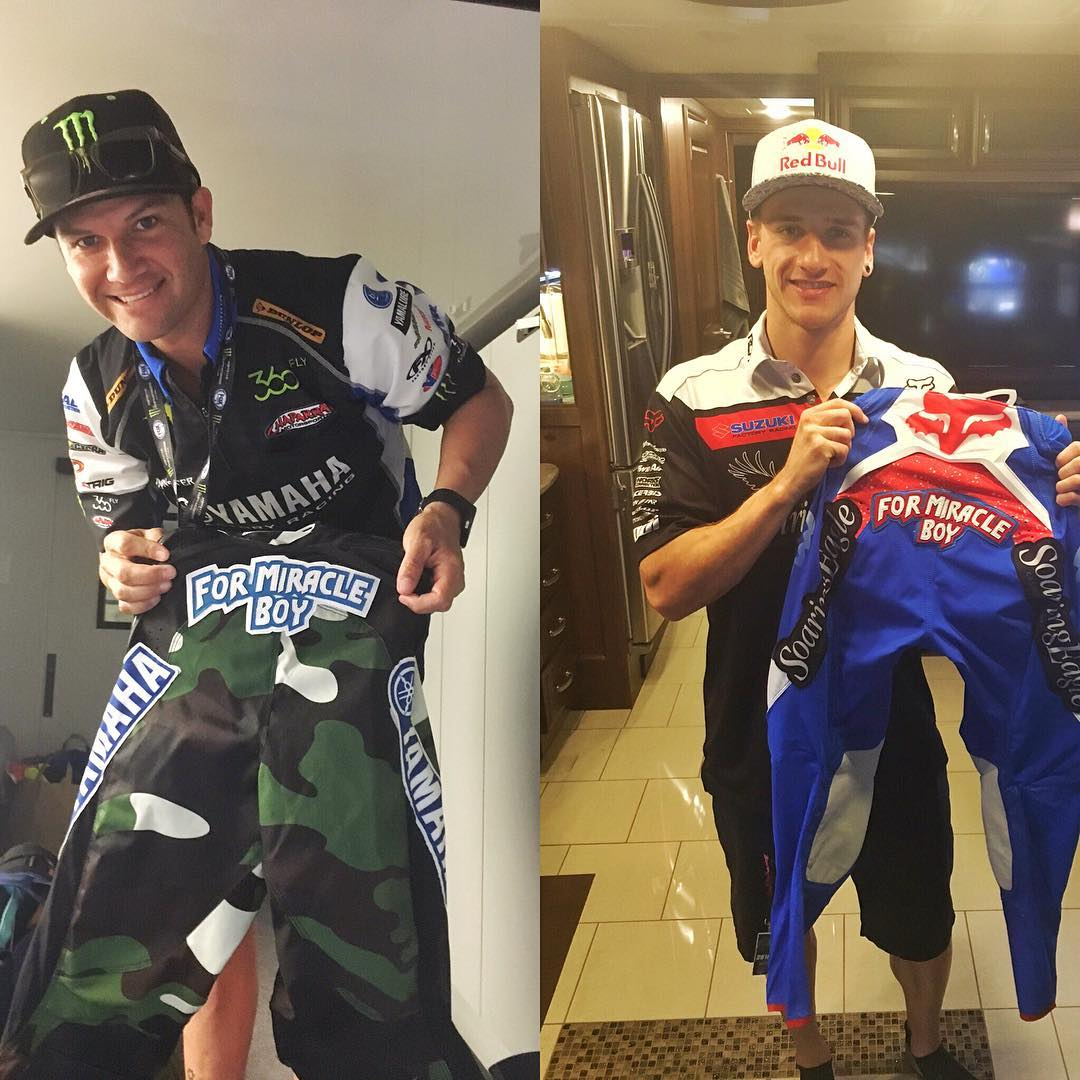 Stoked to see my two friends Chad Reed and Ken Roczen rocking a Miracle Boy patch in honor of recently deceased Dave Mirra, for today's Supercross race here in San Diego. His influence on us and action sports was huge. #MircaleBoy #legendsneverdie