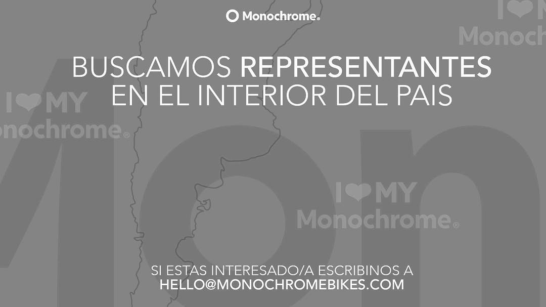 Buscamos representantes en el interior del pais! Si estas interesado por favor escribinos a hello@monochromebikes.com