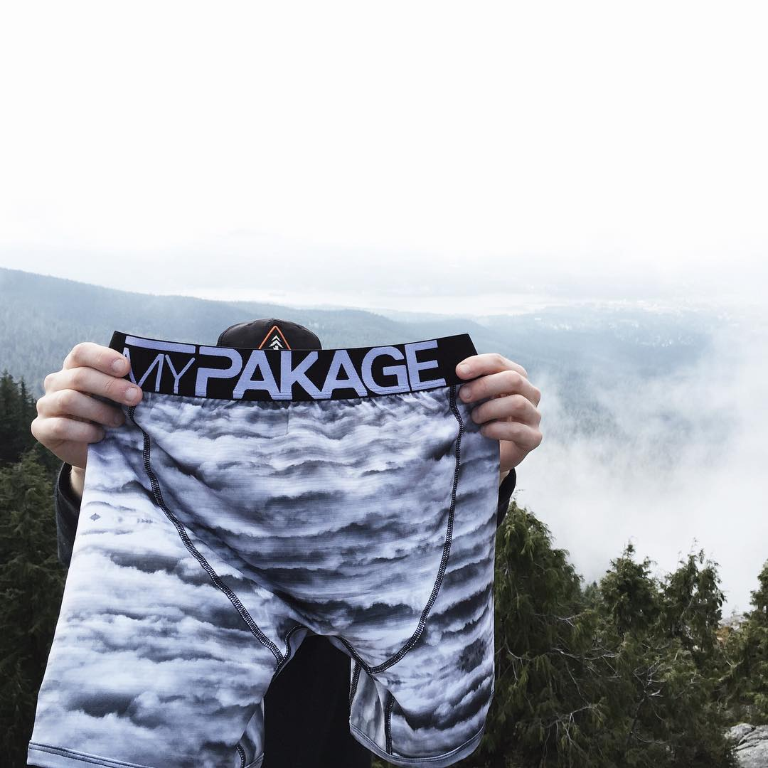 "Floating in the clouds in the ""cloud camo"" Action Series print created with photographer @colinadair #MyPakage"