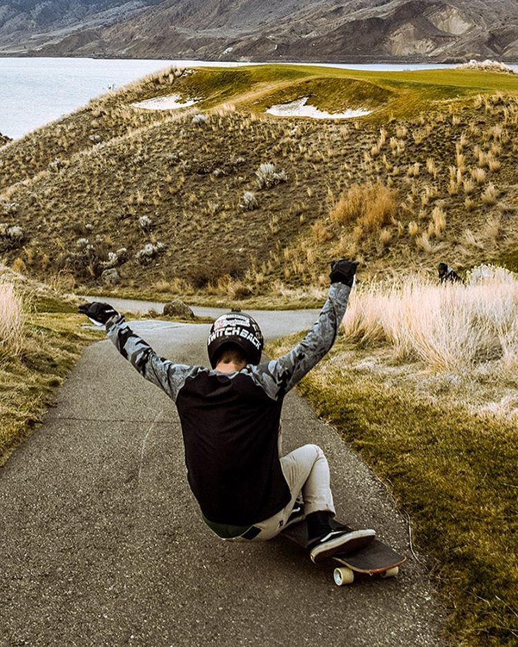 "A snap from a golf course session near Kamloops with @aidan_gilbert on the Keystone 37"" to start the week. (Photo by @chungs825) #dblongboards #longboard #dbkeystone #longboarding #skateeverything"