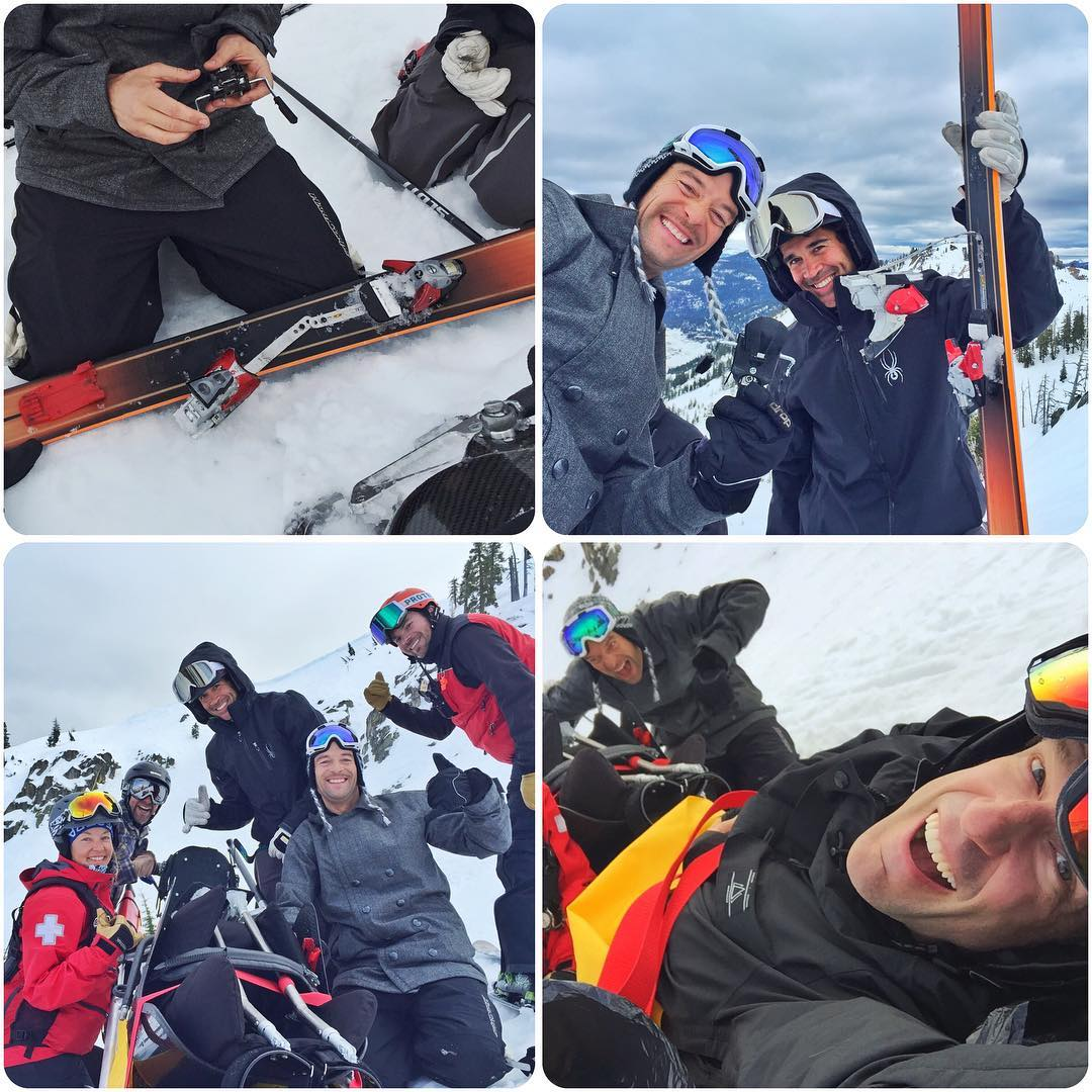 (Not hurt at all - just a binding malfunction). #SundayFunday got a lil wild yesterday afternoon - classic moments with @recessreid, @kerisimasi, @toddyp_obs.  We were getting our carve on at the top of #CorniceBowl (@squawalpine) and the heel piece...