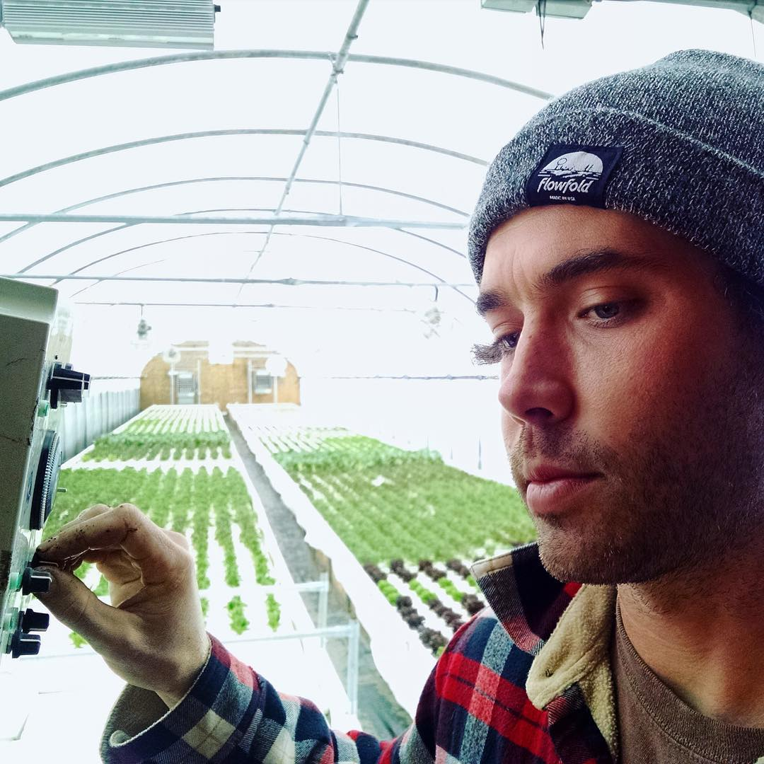 Jackson of @fluidfarms beating winter in Maine with the #Flowfold Island Icon beanie.