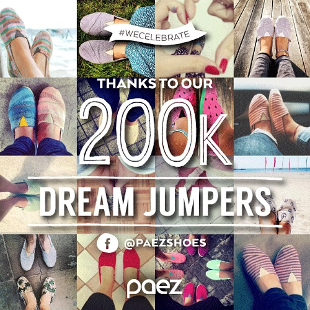 ☆ TODAY #WECELEBRATE ☆ Thanks to our 200K Facebook Dream Jumpers !!! ♡ We Share the Love ♡ ☞ F: /PaezShoes #WeCommunity  #Paez #PaezShoes #Dreamjumpers