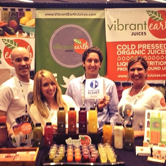 Psyched to welcome @vibrantearthjuices to the 1% FTP family! #expowest #giveback