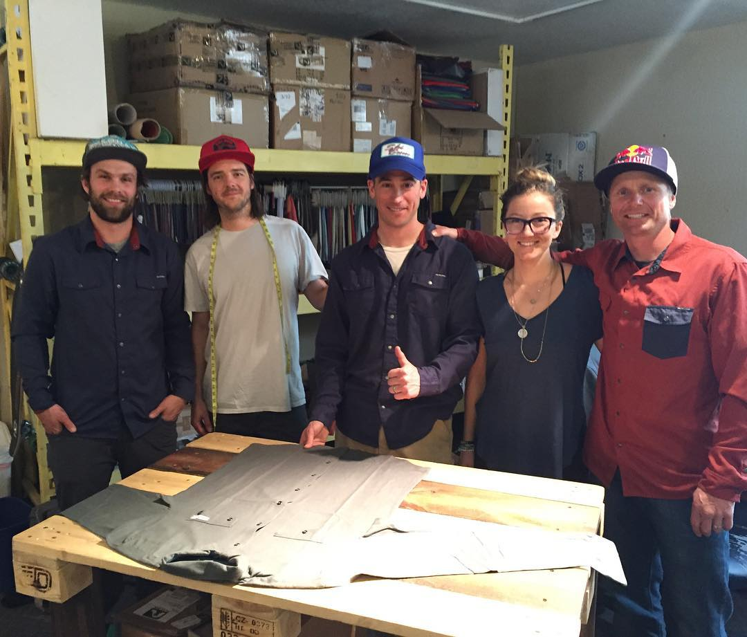 The Flylow Olympic team dropped by the design lab yesterday!  Here is @travisganong @daronrahlves hanging with @flylowgreg @winterdubs and @flylowdan  #flylowgear