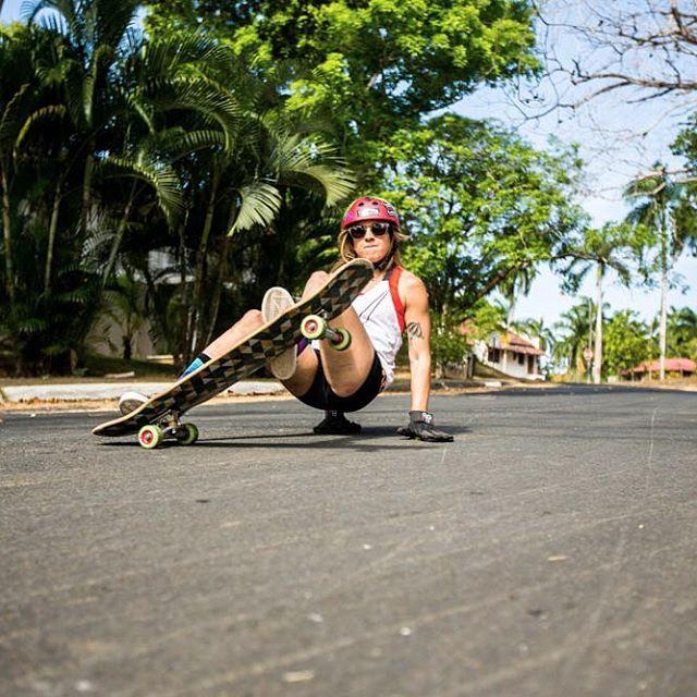 @ginamendez88 on some old green #Onsens prototypes, shralping her way through the Panamanian bush.  #Orangatang #Onsens #LoadedBoards #Kanthaka