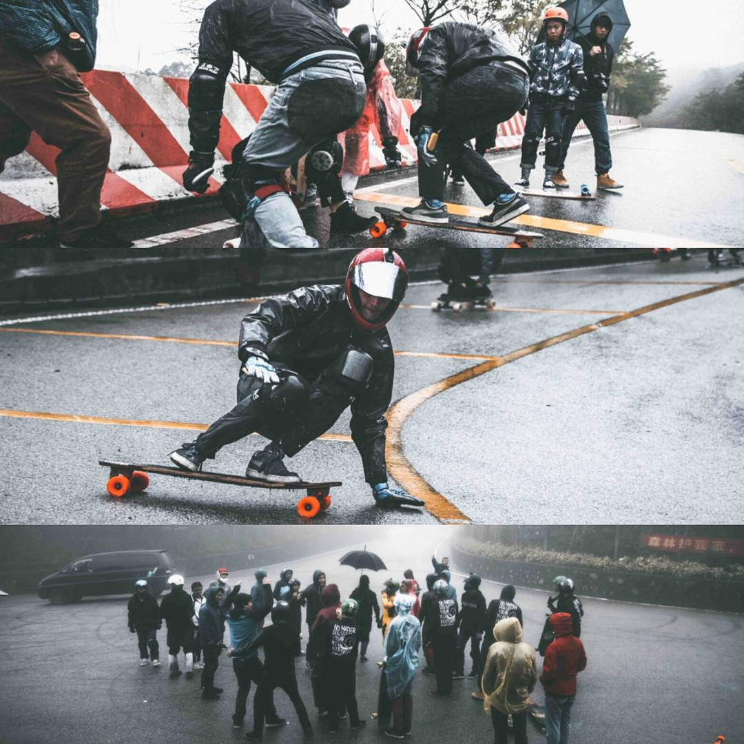 Despite the rain and fog, the South China Downhill Clinic went off without a hitch!  36 riders showed up to learn how to effectively out their board sideways to burn speed and stay in their lanes.  Big thanks to #OrangatangAmbassador @hazzaclarke_hlss...