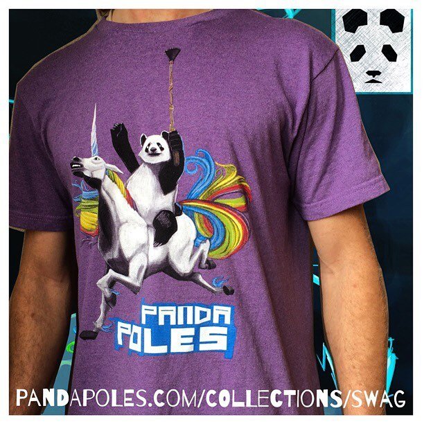 Can you feel the magic?! Unicorn Panda T Shirt now available at PandaPoles.com/collections/swag! (Promo code TRIBE UP = 20% OFF!) 100% Recycled | 100% Magic | Made in USA | $39!  #TribeUP Unicorn Panda T!  Photo: @mophofomo  Art: @erikexeter_rawr...