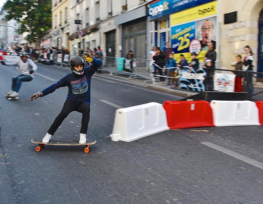 #tbt to our dude, @lotfiwoodwalker throwing a huge check slide around the barriers at a boardercross race in #Paris, France last year.